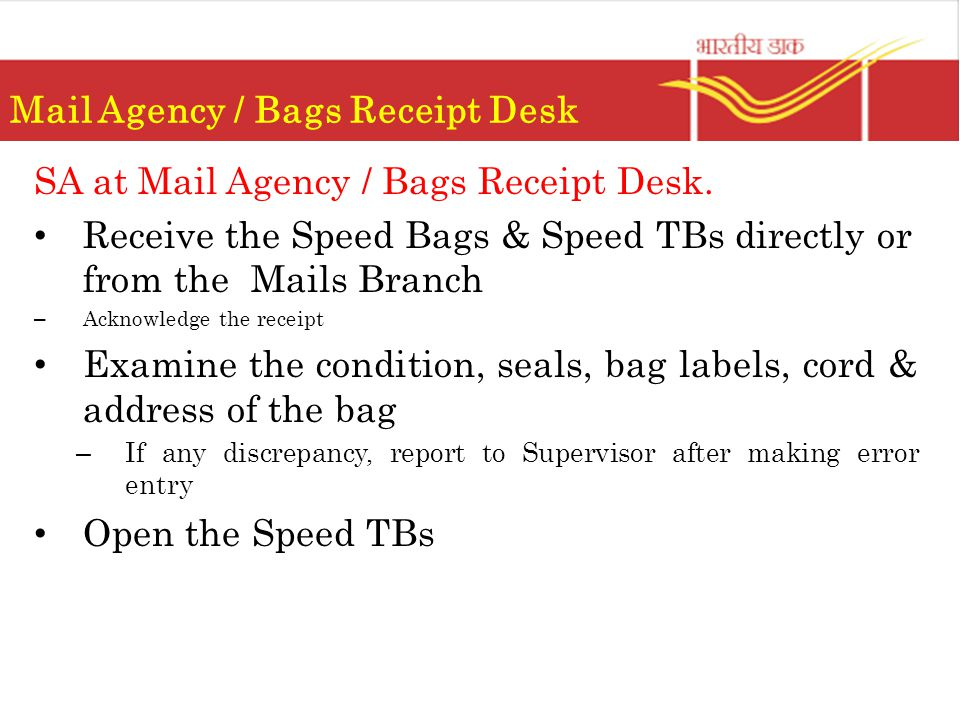 Mail Agency / Bags Receipt Desk