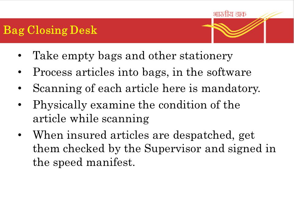 Bag Closing Desk Take empty bags and other stationery. Process articles into bags, in the software.