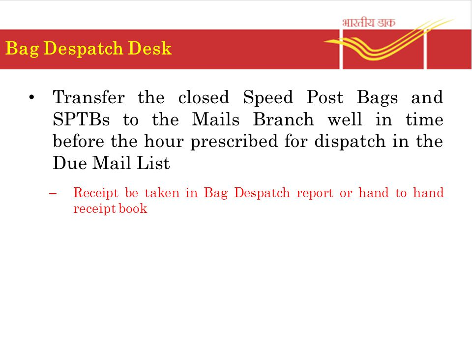 Bag Despatch Desk