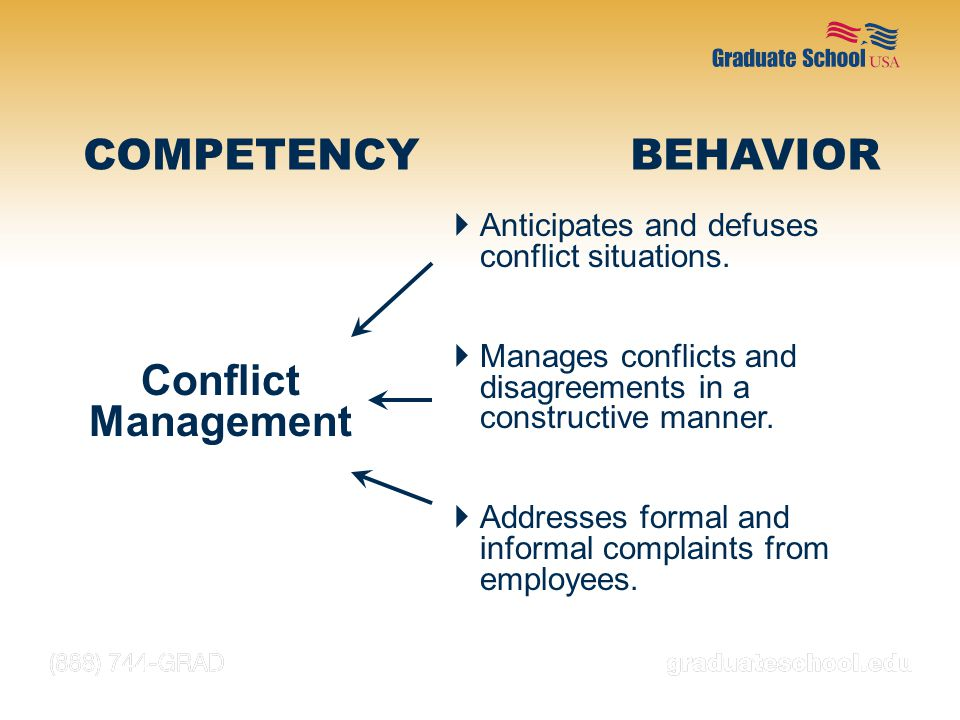 COMPETENCY BEHAVIOR Conflict Management