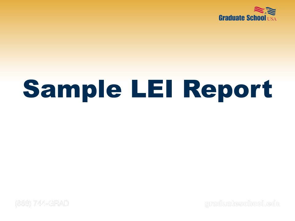 Sample LEI Report NOTES