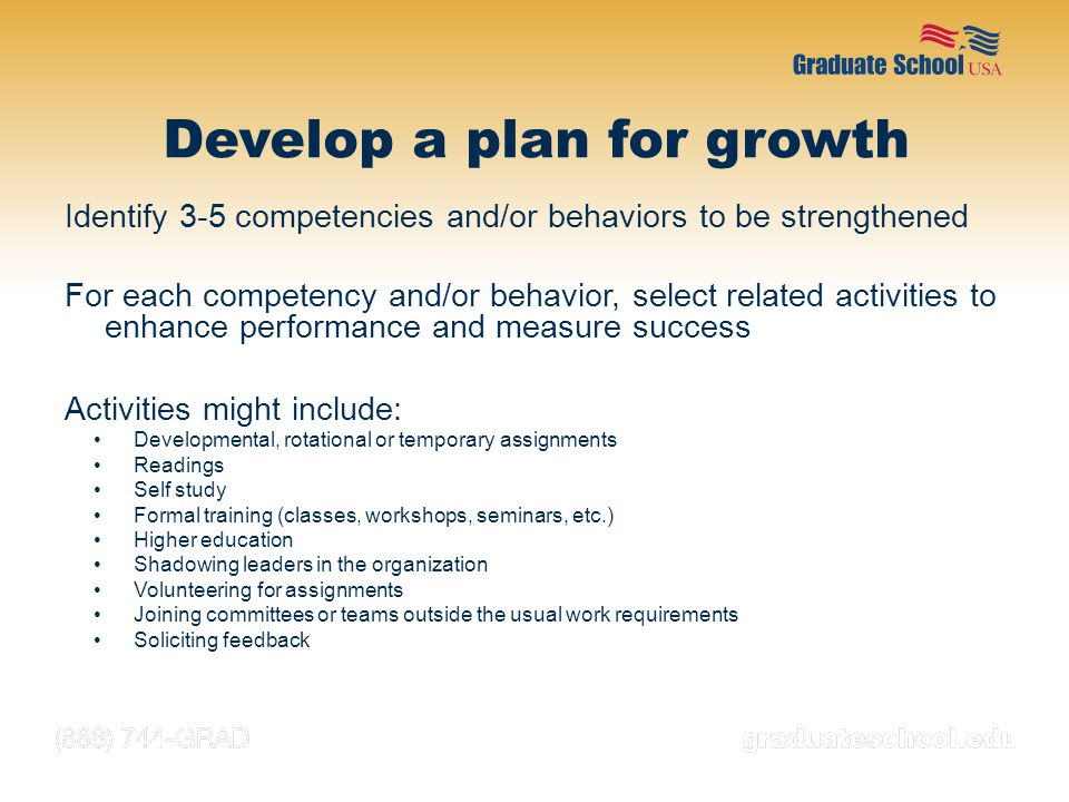 Develop a plan for growth