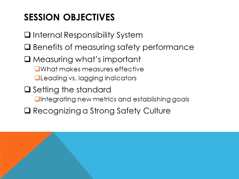 Session objectives Internal Responsibility System