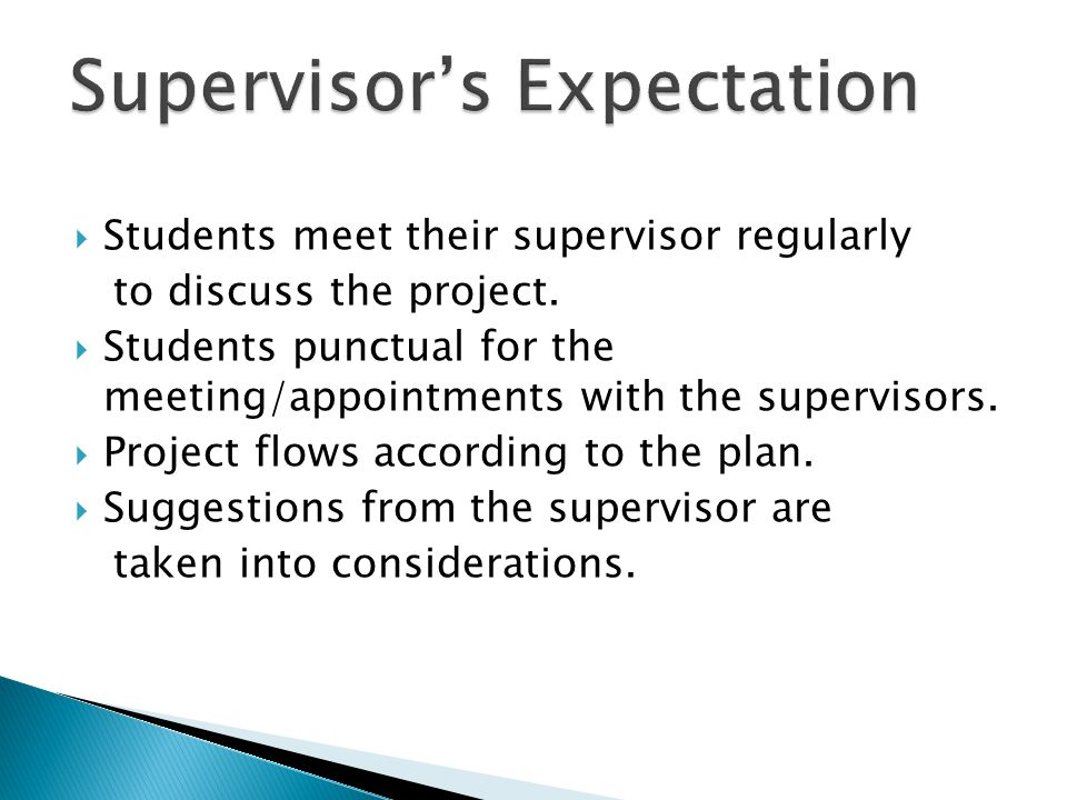 Supervisor's Expectation