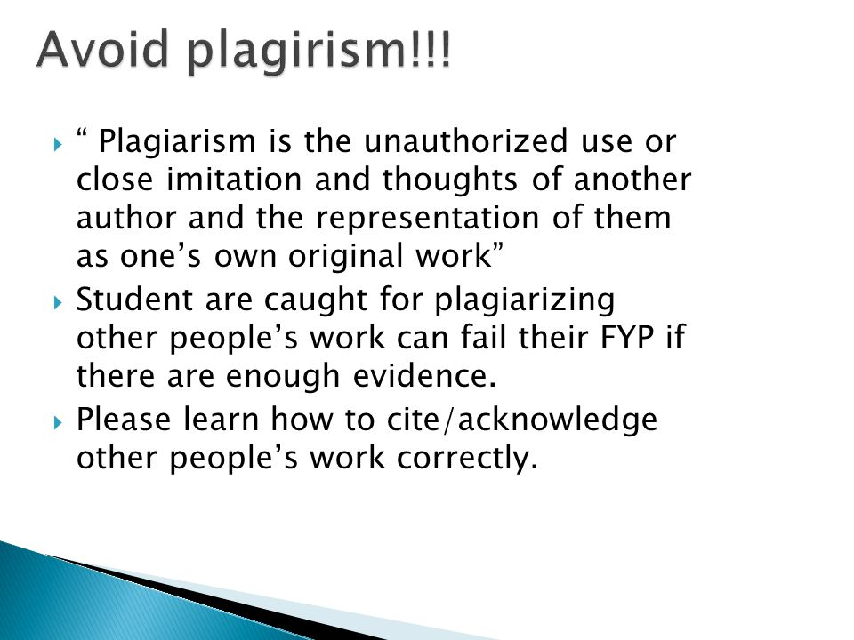 Avoid plagirism!!!