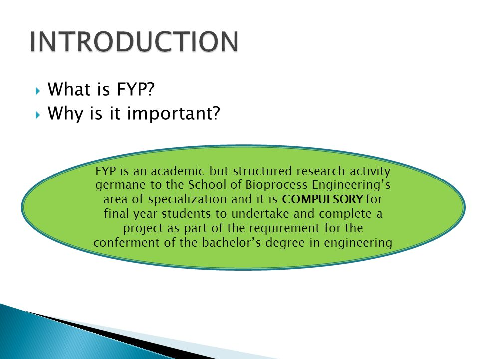 INTRODUCTION What is FYP Why is it important