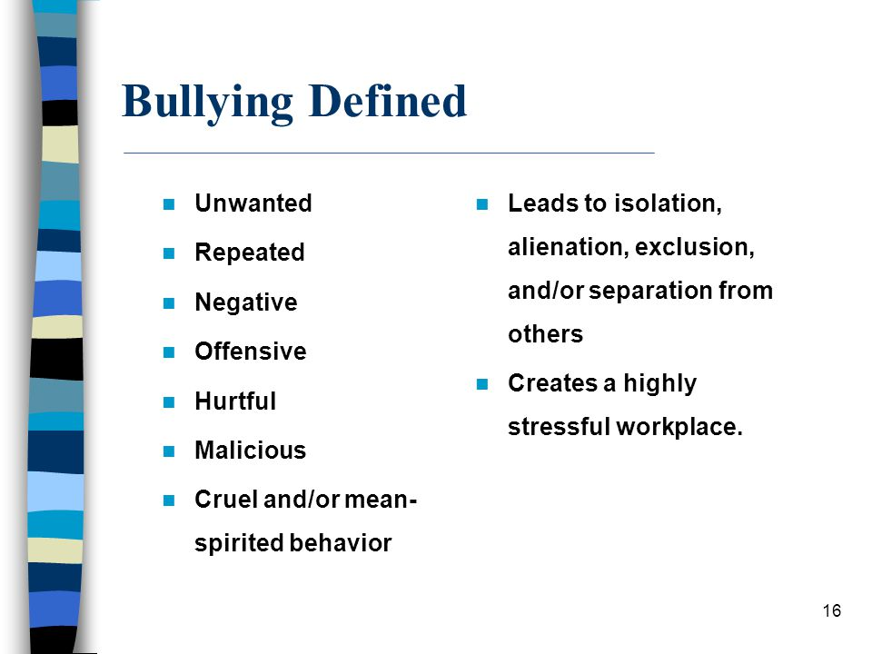 Bullying Defined Unwanted