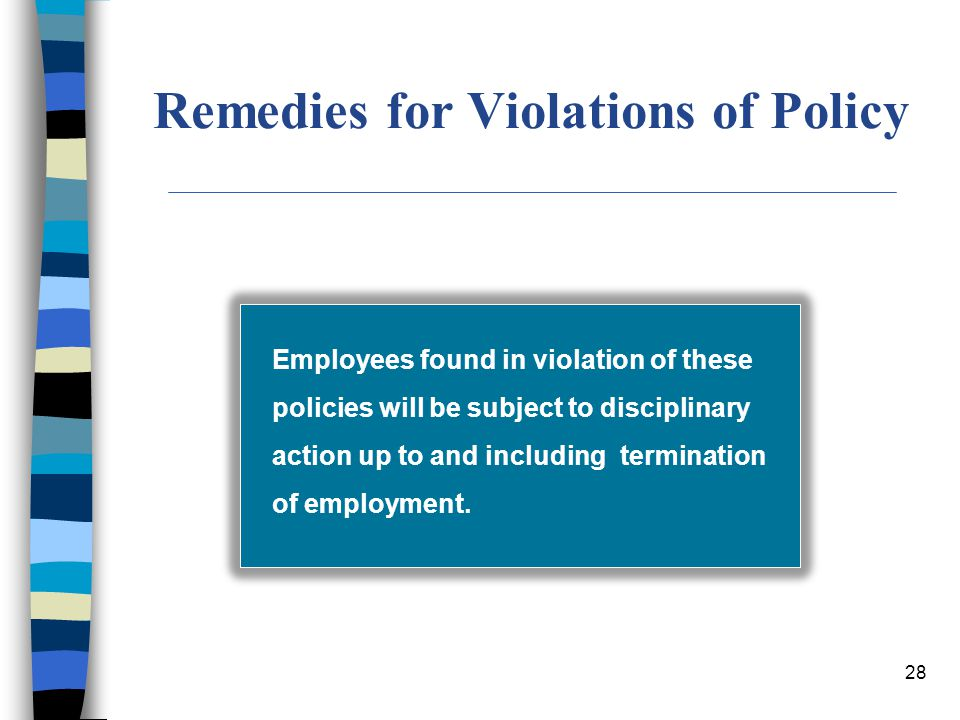 Remedies for Violations of Policy