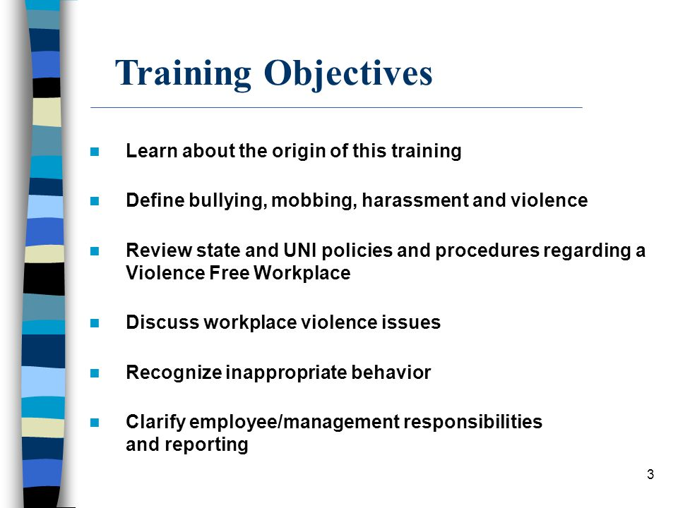 Training Objectives Learn about the origin of this training