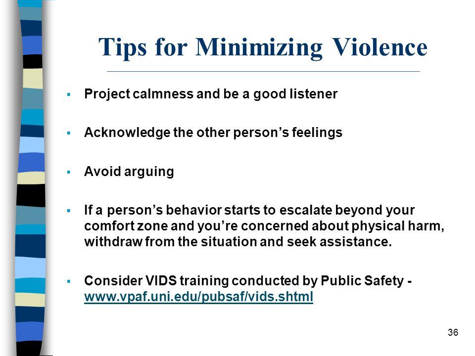 Tips for Minimizing Violence