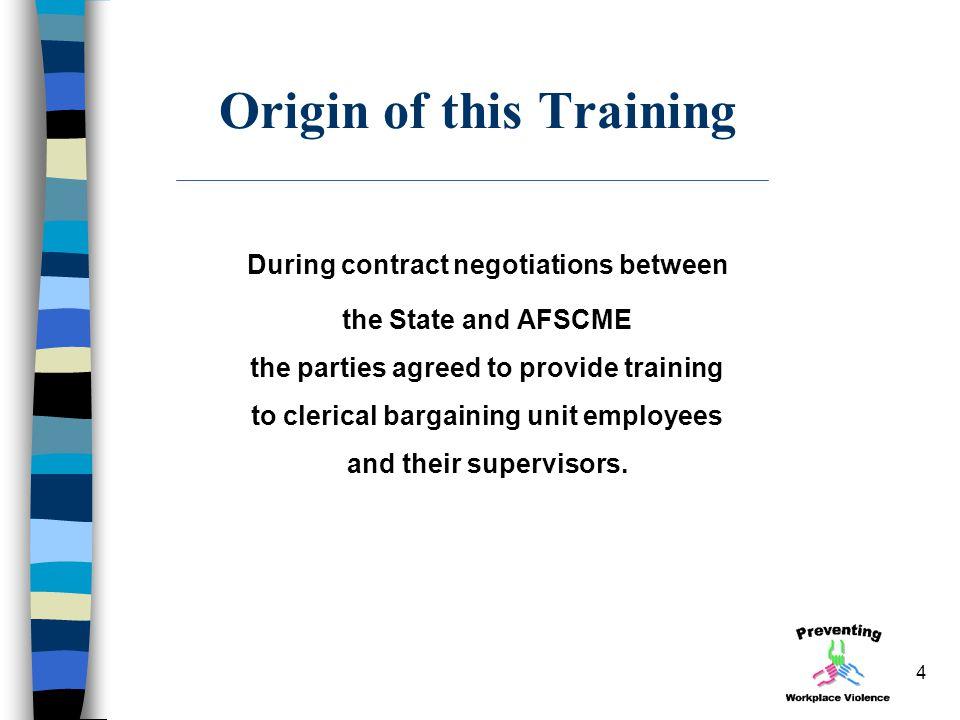Origin of this Training