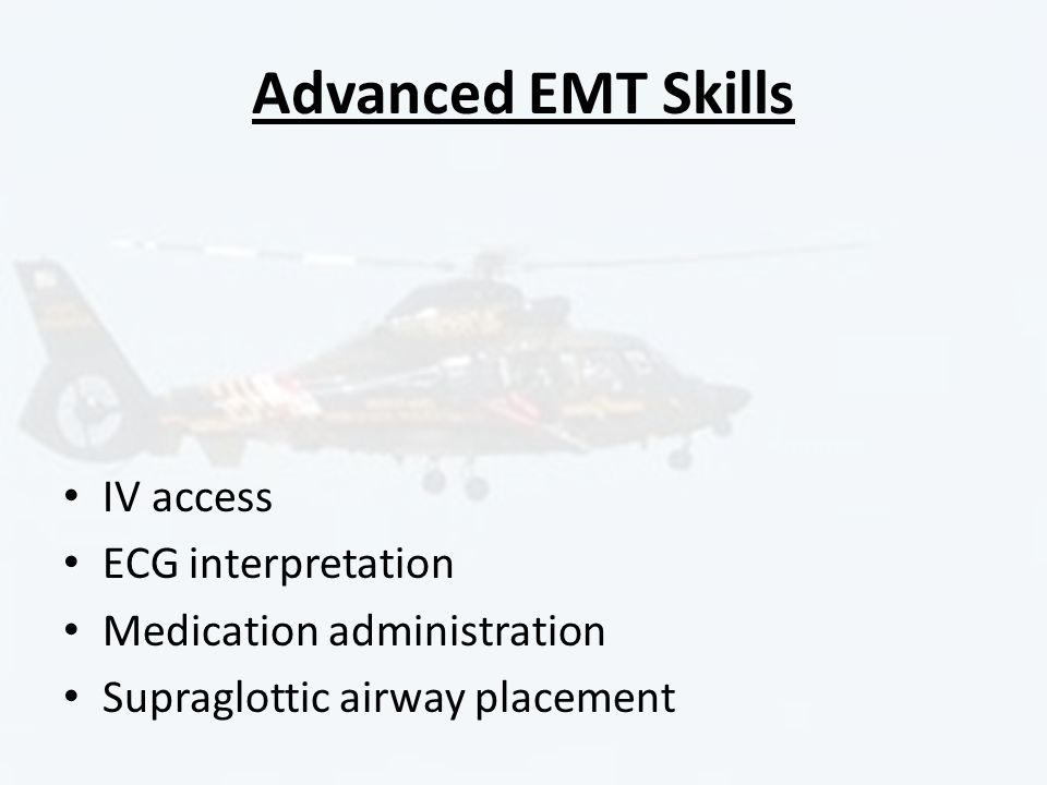 Advanced EMT Skills IV access ECG interpretation