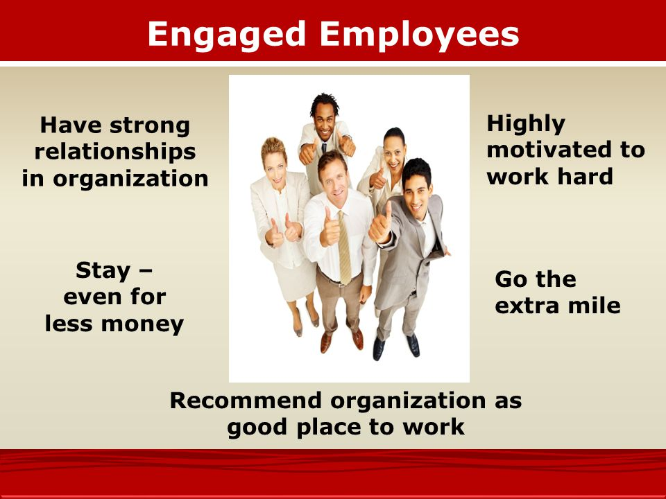 Engaged Employees Have strong relationships in organization