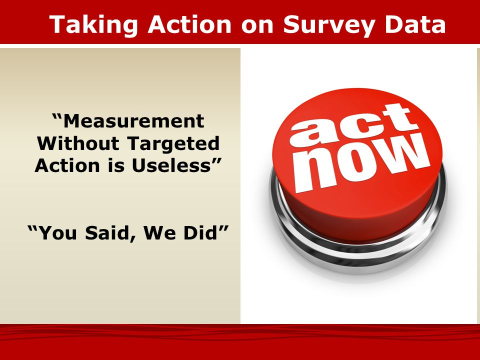 Taking Action on Survey Data
