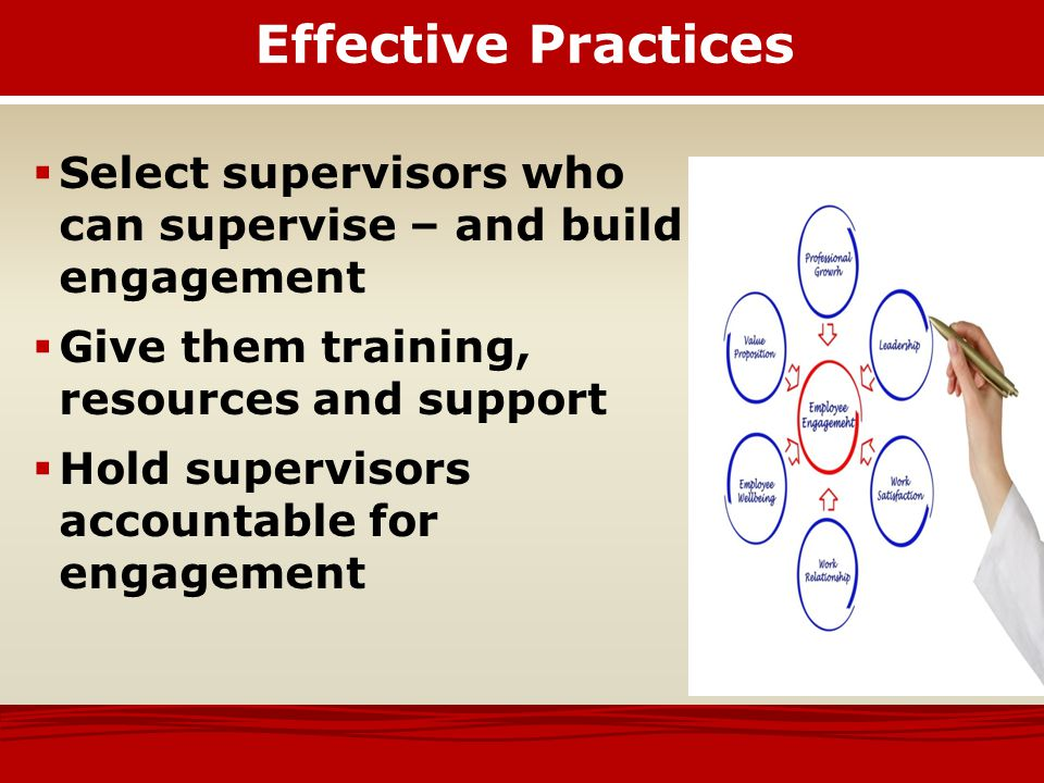 Effective Practices Select supervisors who can supervise – and build engagement.