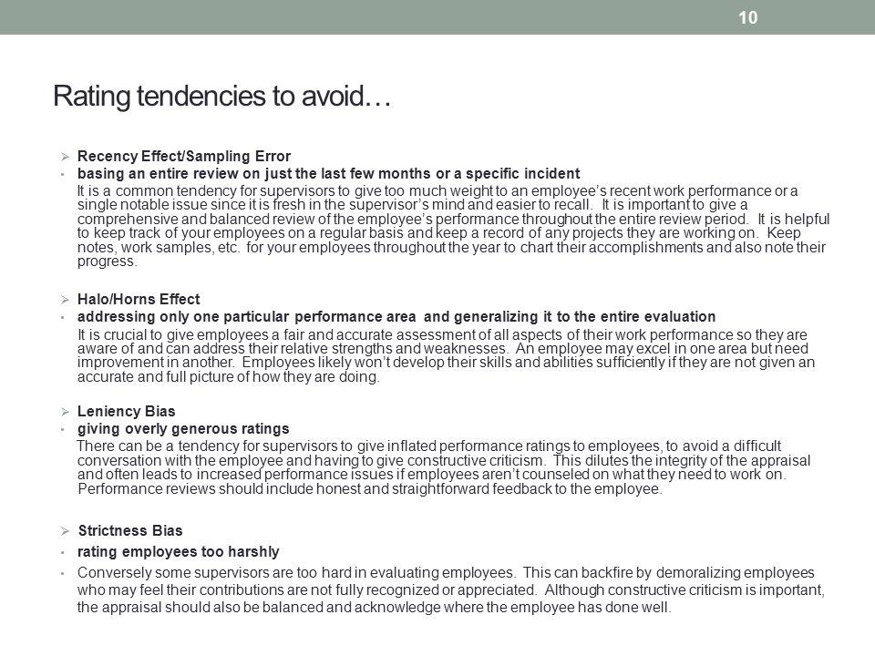 Rating tendencies to avoid…