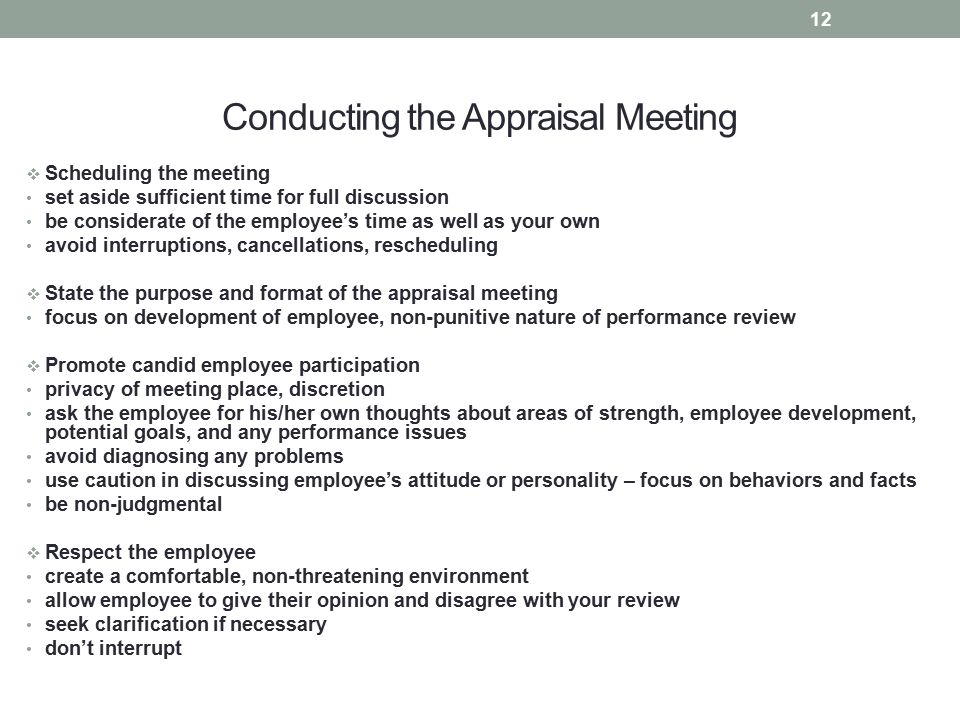 Conducting the Appraisal Meeting