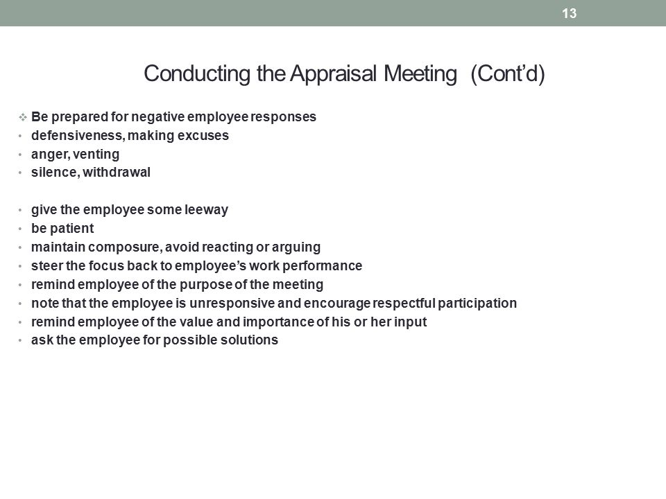 Conducting the Appraisal Meeting (Cont'd)