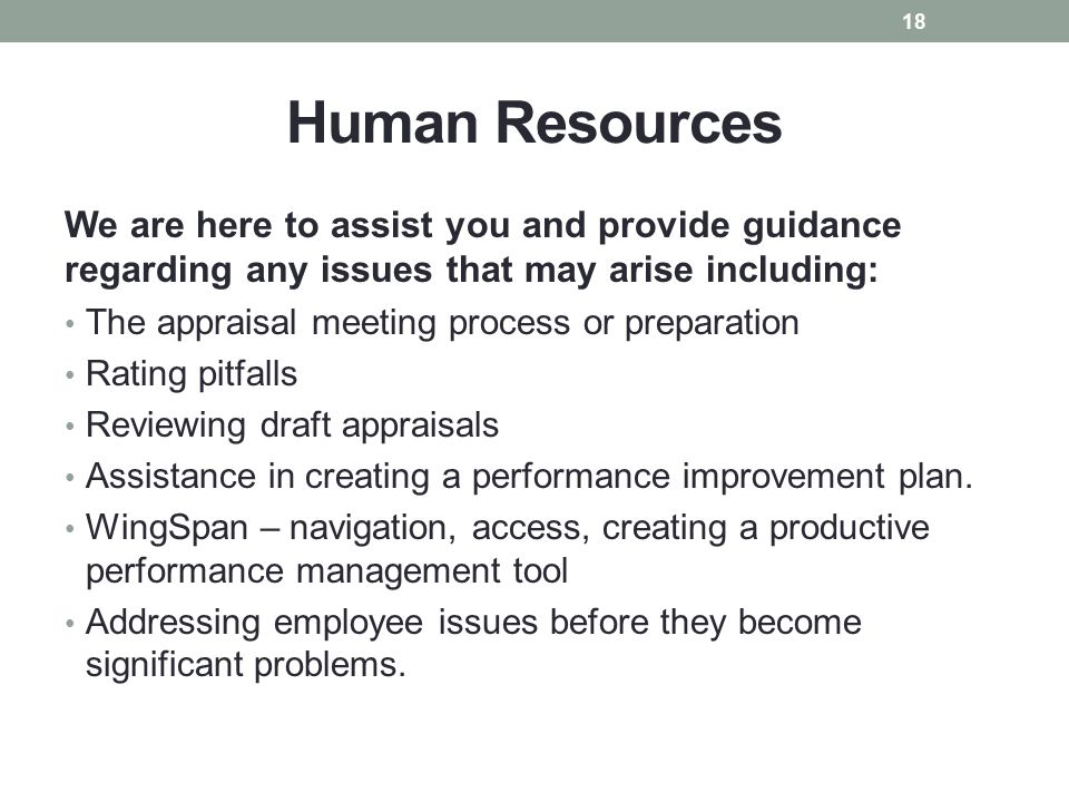 Human Resources We are here to assist you and provide guidance regarding any issues that may arise including:
