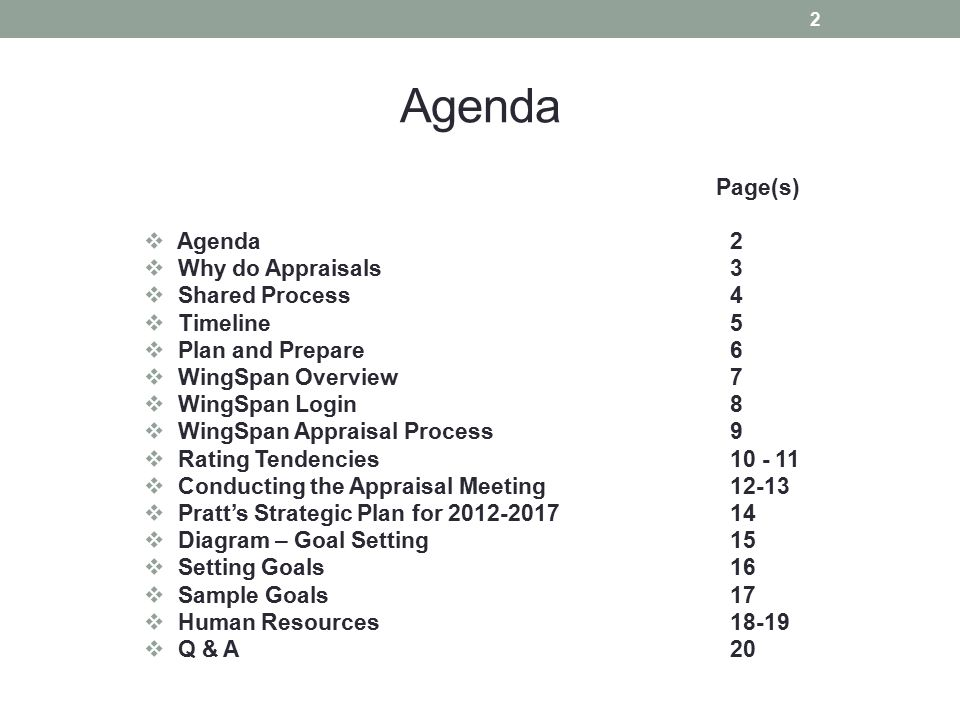 Agenda Page(s) Agenda 2 Why do Appraisals 3 Shared Process 4