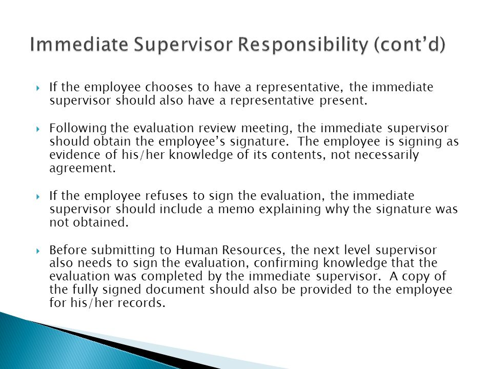 Immediate Supervisor Responsibility (cont'd)
