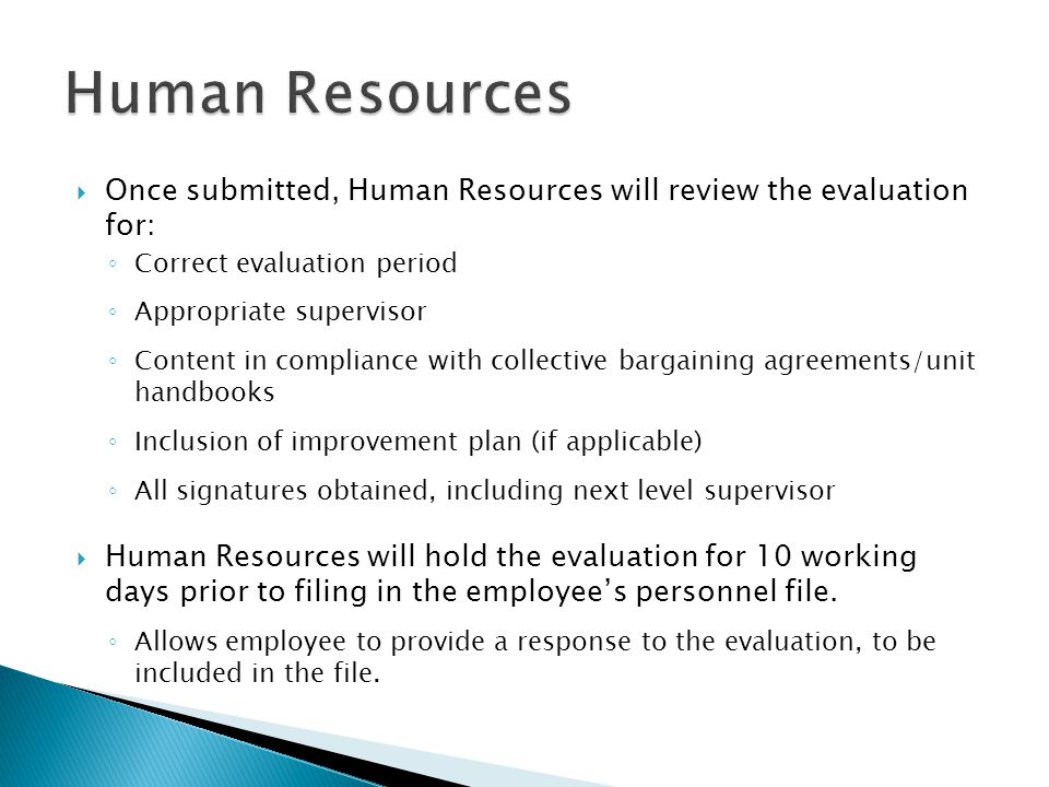 Human Resources Once submitted, Human Resources will review the evaluation for: Correct evaluation period.