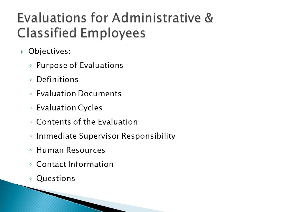 Evaluations for Administrative & Classified Employees