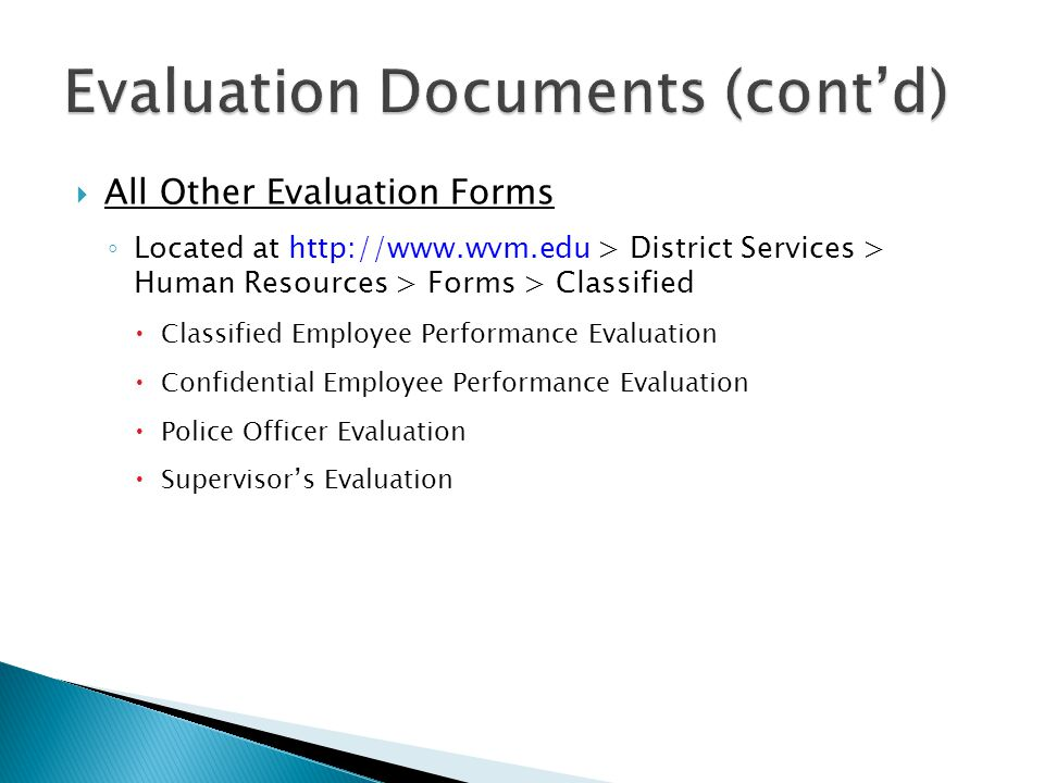 Evaluation Documents (cont'd)