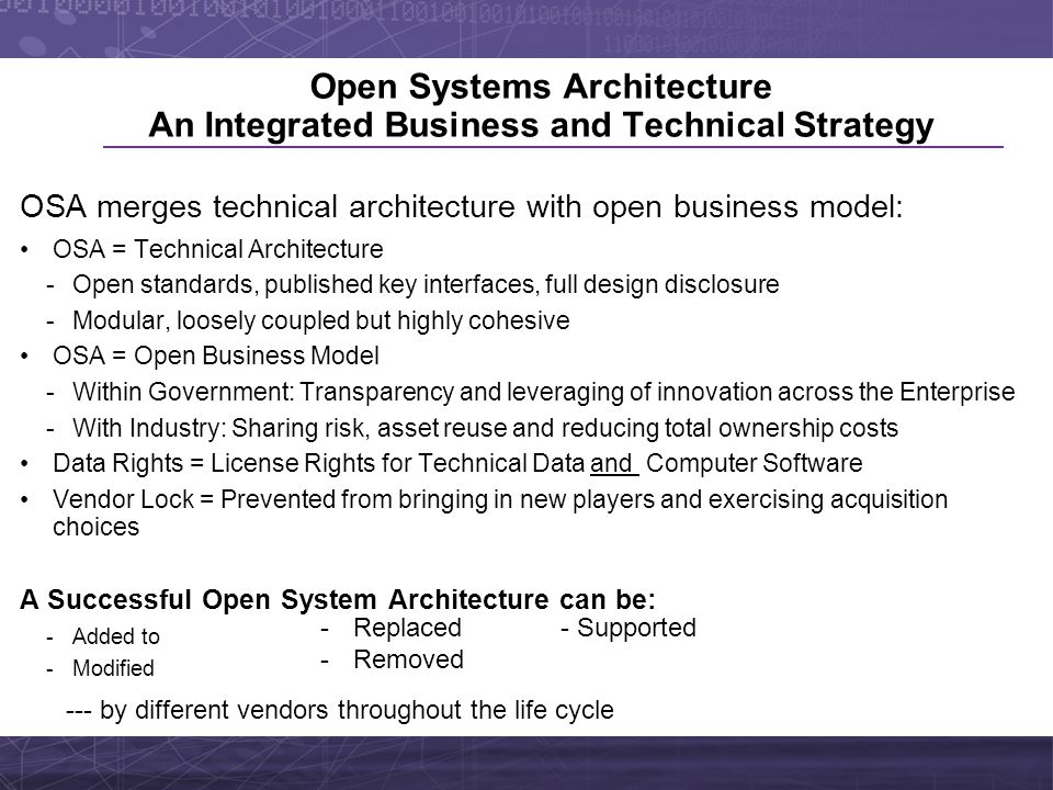 Open Systems Architecture An Integrated Business and Technical Strategy