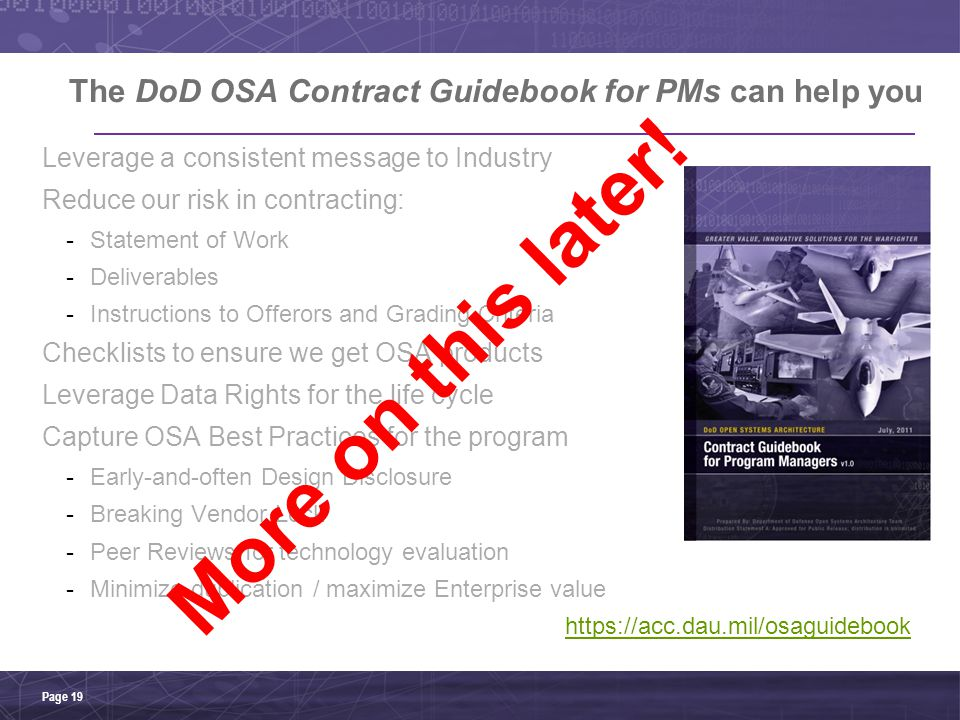The DoD OSA Contract Guidebook for PMs can help you