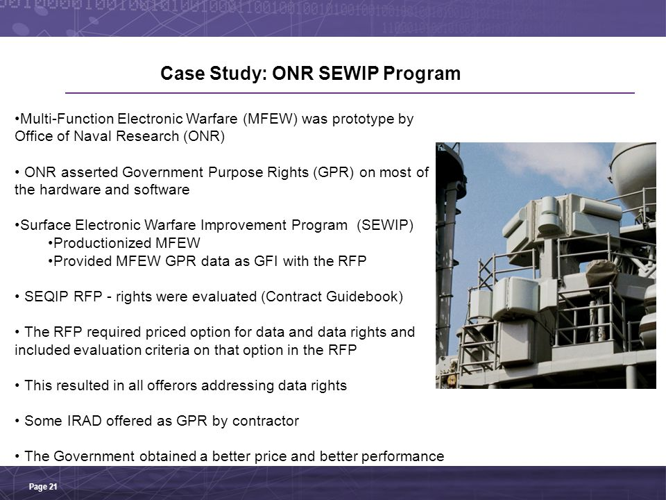 Case Study: ONR SEWIP Program