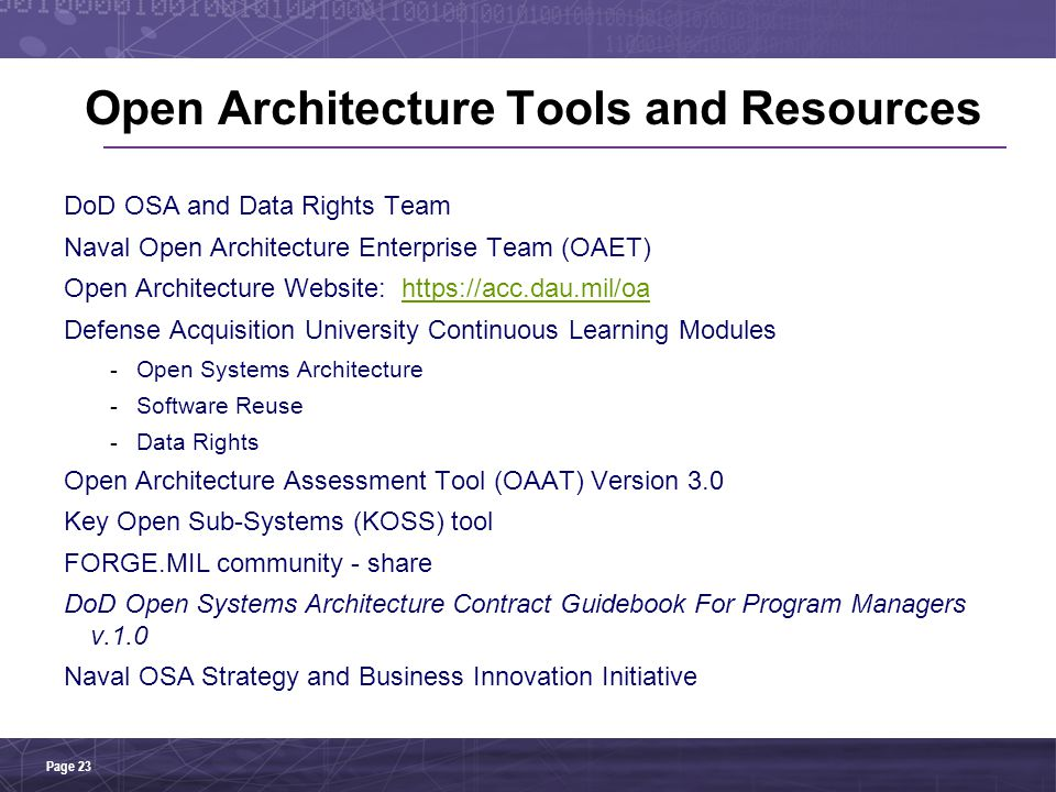 Open Architecture Tools and Resources