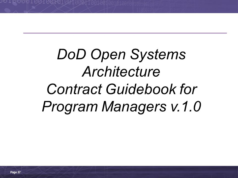 DoD Open Systems Architecture Contract Guidebook for Program Managers v.1.0