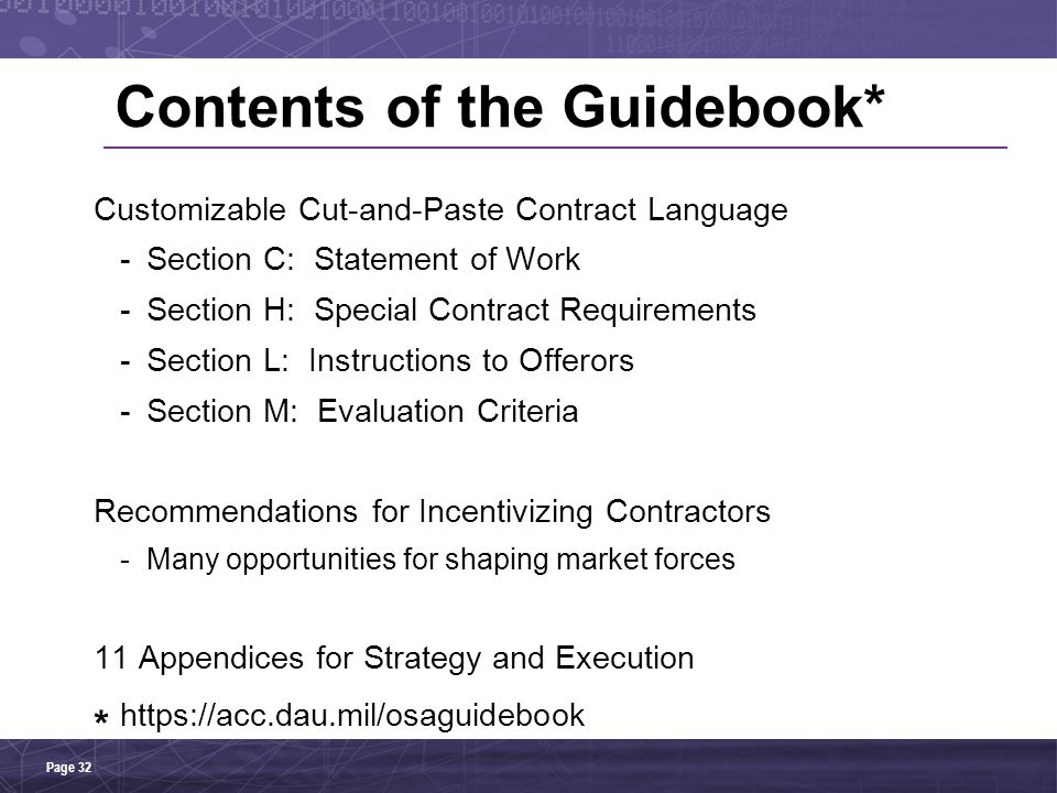 Contents of the Guidebook*