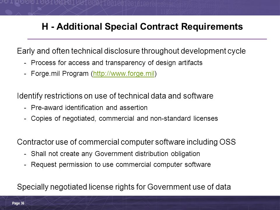 H - Additional Special Contract Requirements