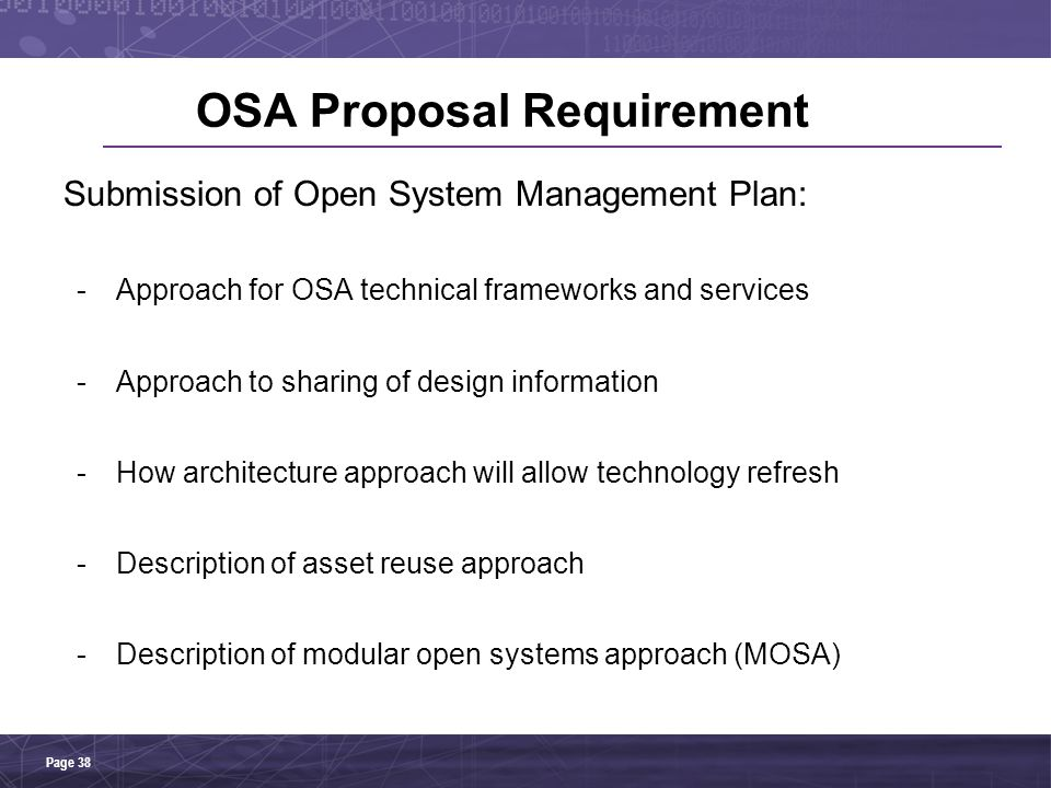 OSA Proposal Requirement