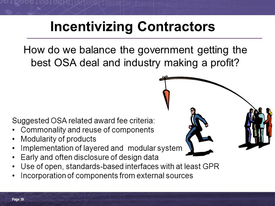 Incentivizing Contractors