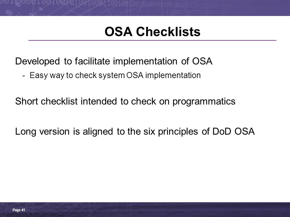OSA Checklists Developed to facilitate implementation of OSA