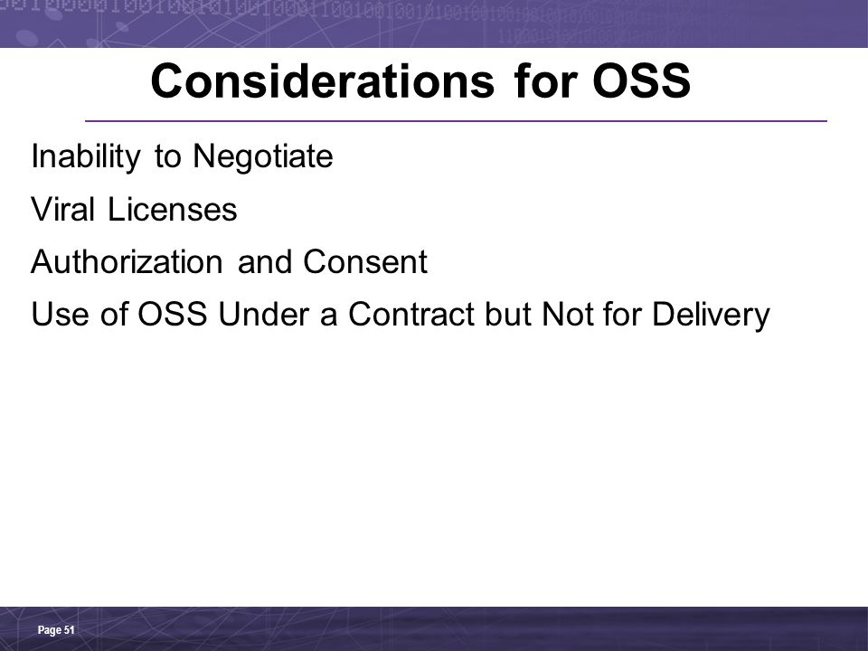 Considerations for OSS