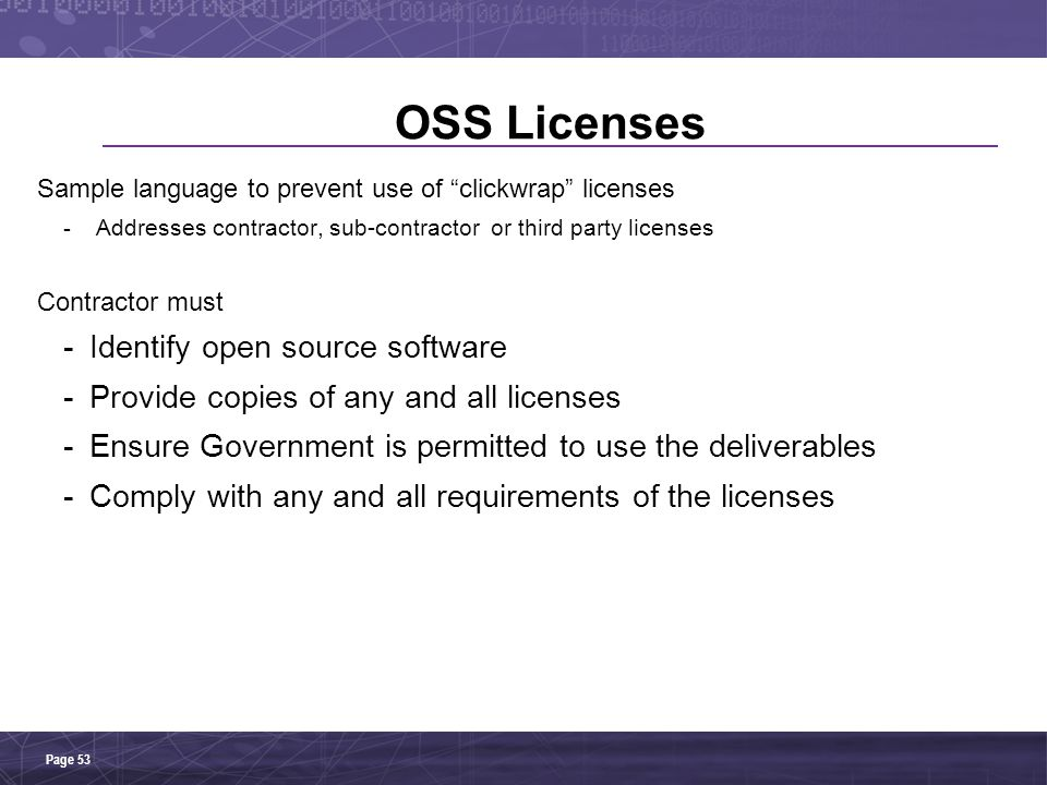 OSS Licenses Identify open source software