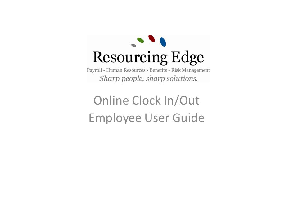 Online Clock In/Out Employee User Guide