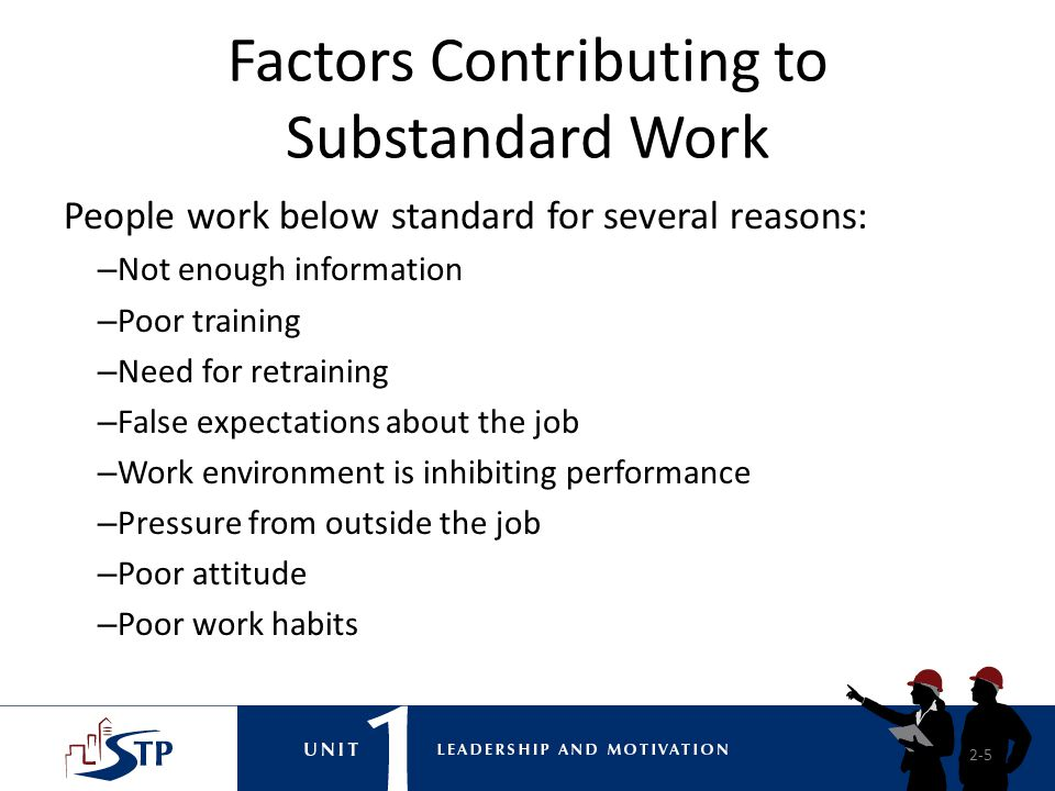 Factors Contributing to Substandard Work
