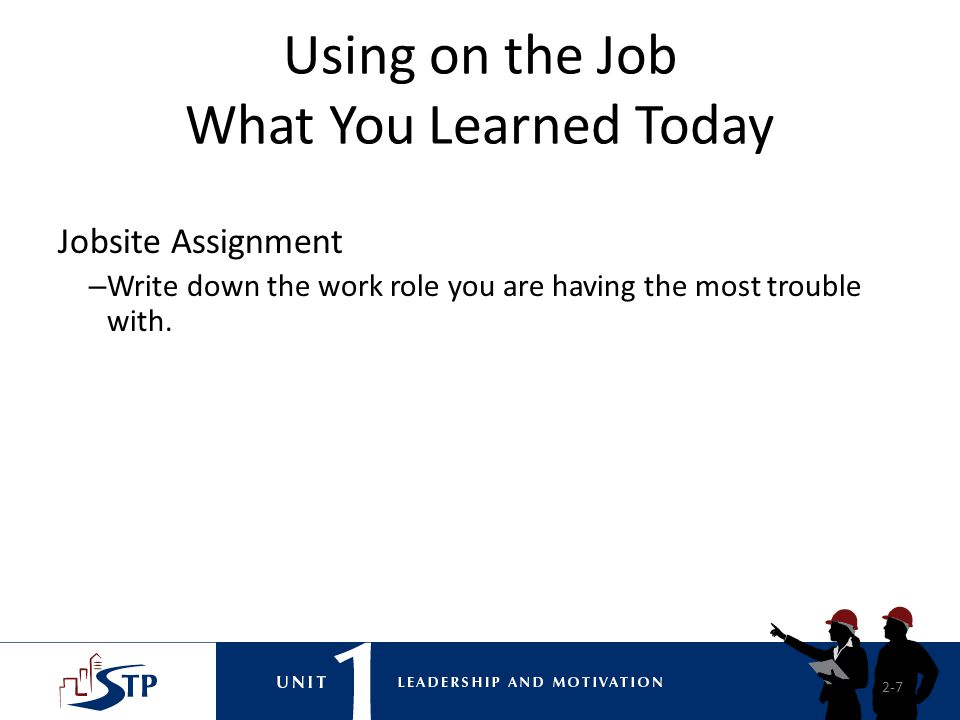 Using on the Job What You Learned Today