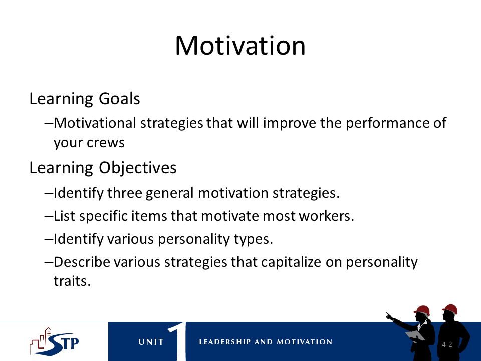 Motivation Learning Goals Learning Objectives