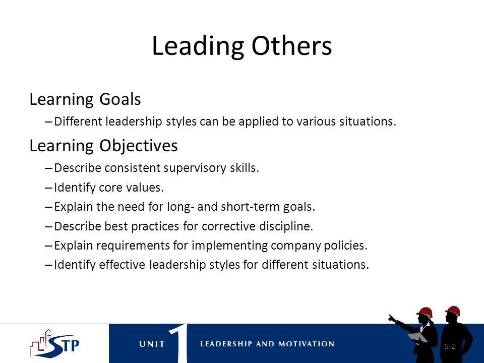 Leading Others Learning Goals Learning Objectives