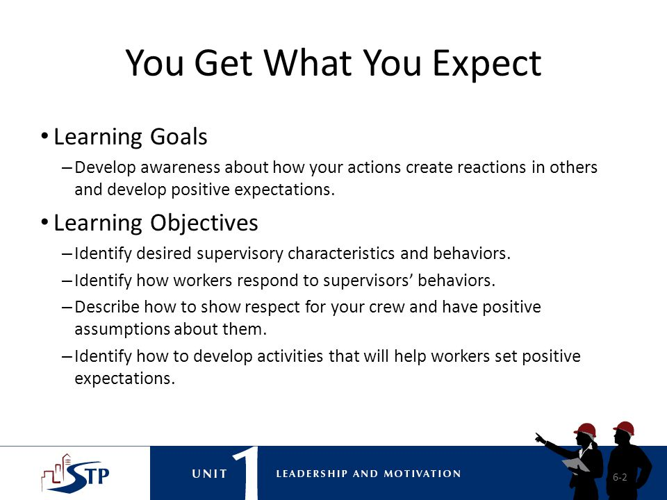 You Get What You Expect Learning Goals Learning Objectives