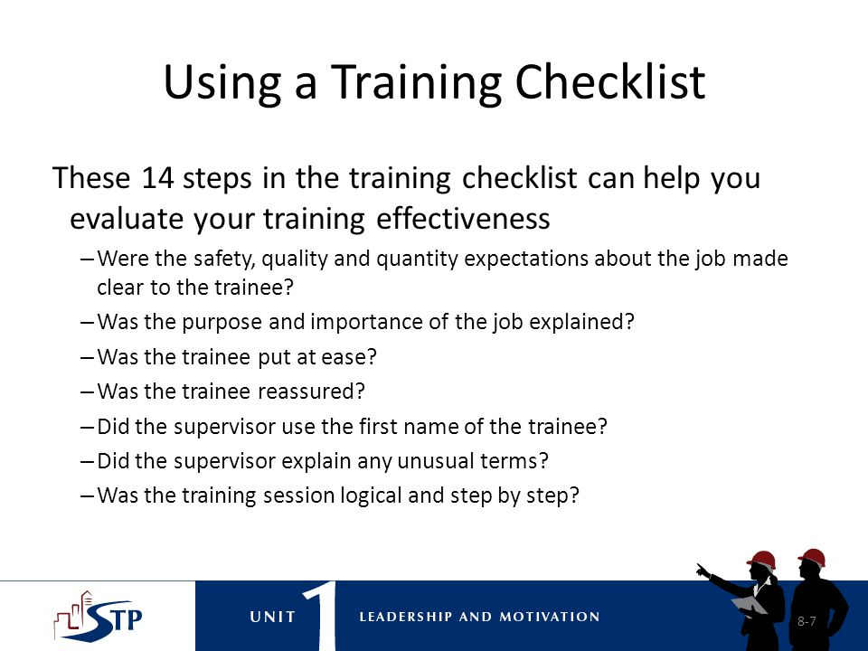 Using a Training Checklist