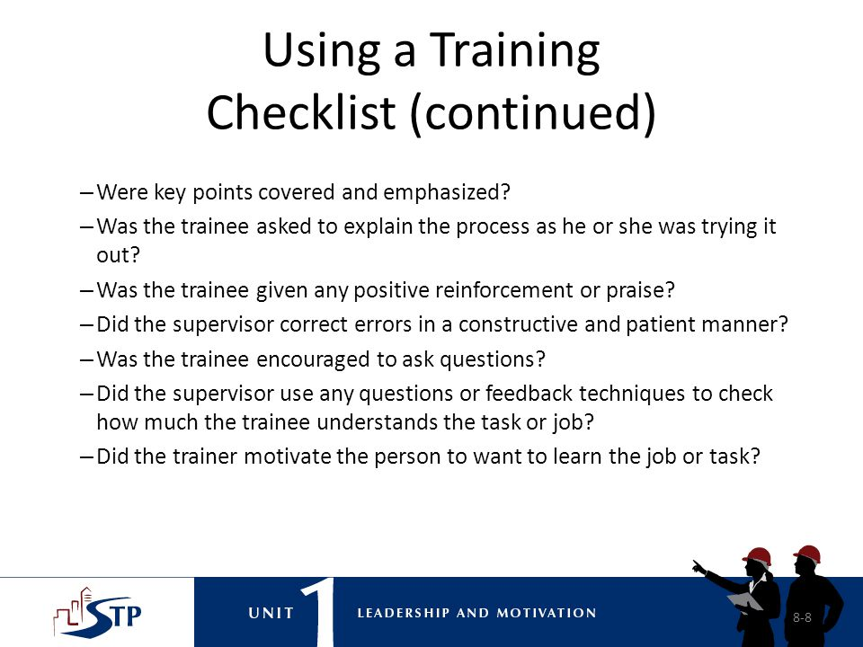 Using a Training Checklist (continued)