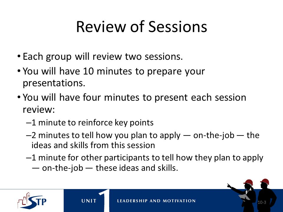 Review of Sessions Each group will review two sessions.