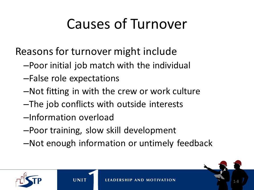 Causes of Turnover Reasons for turnover might include